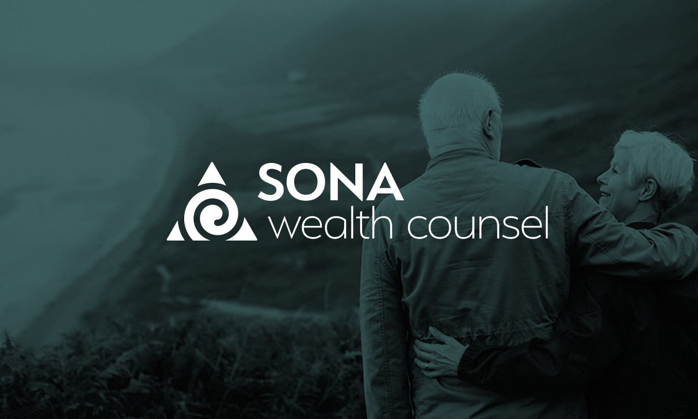 SONA Wealth Counsel logo overlayed on a photo of a retired couple happily looking over a coastline